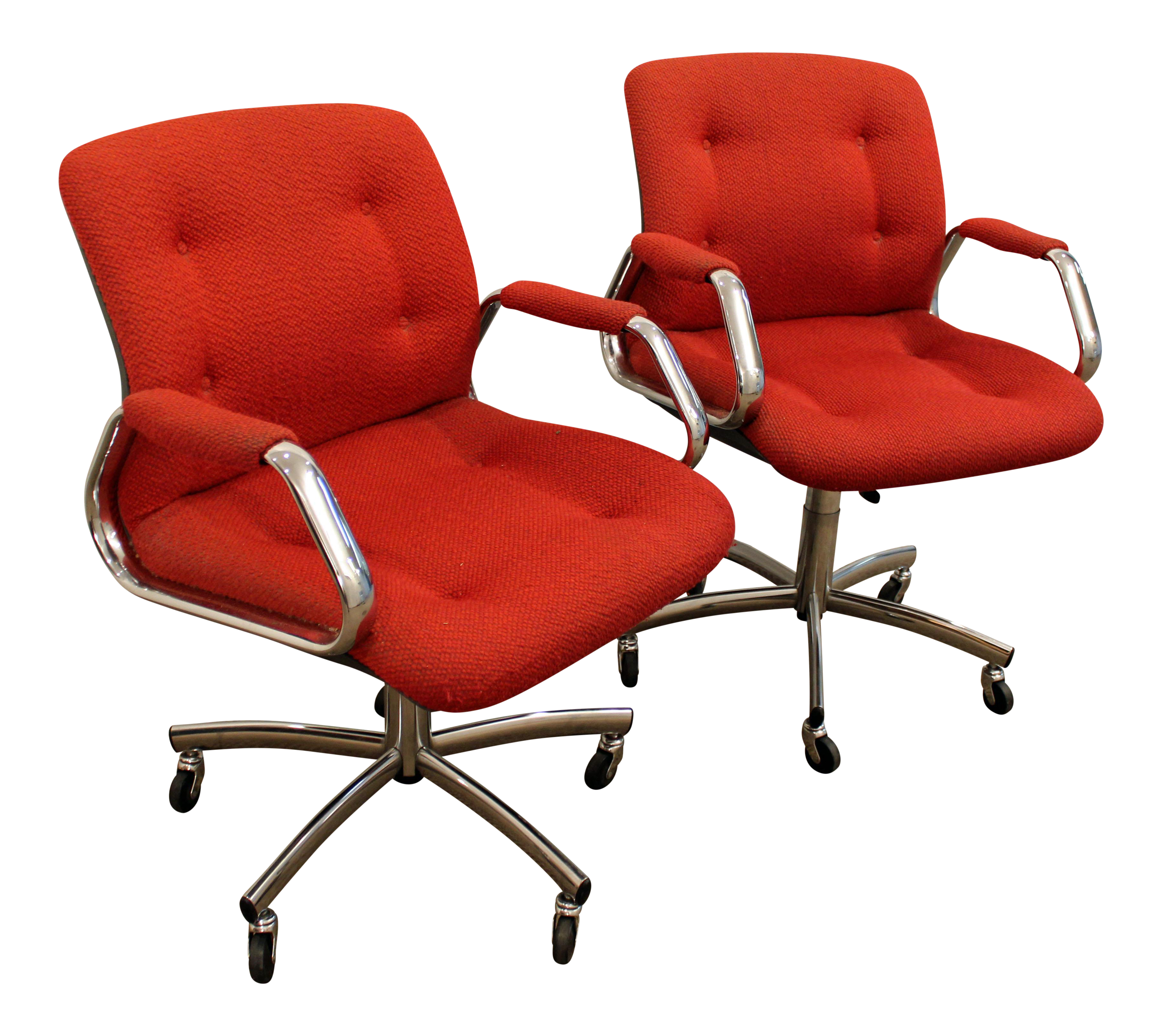 midcentury danish modern red chrome steelcase office chairs on wheels a pair