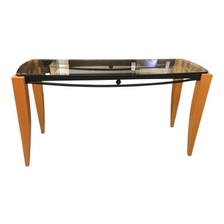 Italian Style Wood Metal & Glass Console Table
