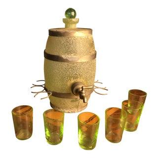 1930s Green Antique Liquor Decanter Set - Set of 7