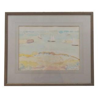 Mid-Century Seascape Watercolor by Liz Ide