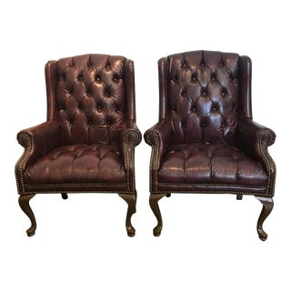Chesterfield Oxblood Wingback Chairs - A Pair