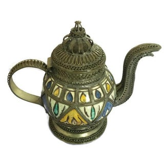 Ceramic Teapot with Metal Filigree Design