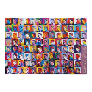 "1993 Peter Max ""100 Clinton's (Bill Clinton)"" Poster"
