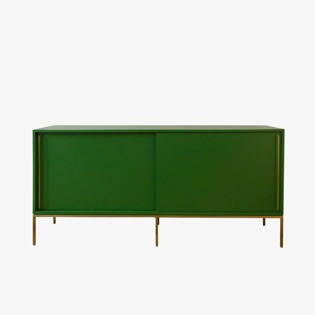 Customizable Re: 379 Grass Green Lacquered Credenza on Brass base - Image 2 of 9