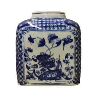 Chinese Blue & White Rectangular Porcelain Floral Jar