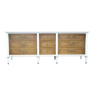 American of Martinsville Cream & Burl Wood Marble Inset Dresser