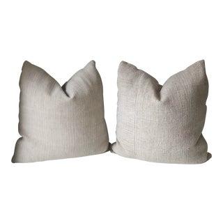 French Grain Sack Pillows - A Pair