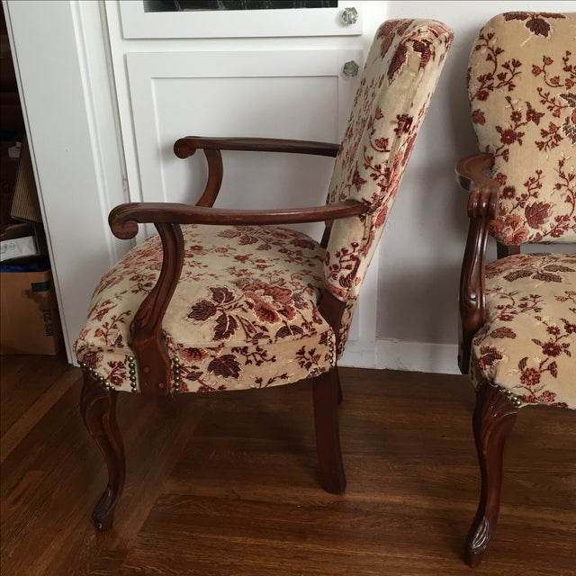 Floral French Provincial Chairs- A Pair - Image 3 of 7