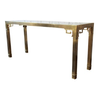 Mastercraft Hollywood Regency Brass and Glass Console Table with Greek Key Motif