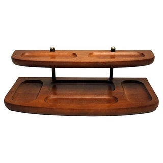 Teak And Brass 2-Tier Desk Tray