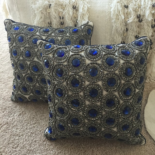 Image of Ivory & Sapphire Throw Pillows - A Pair