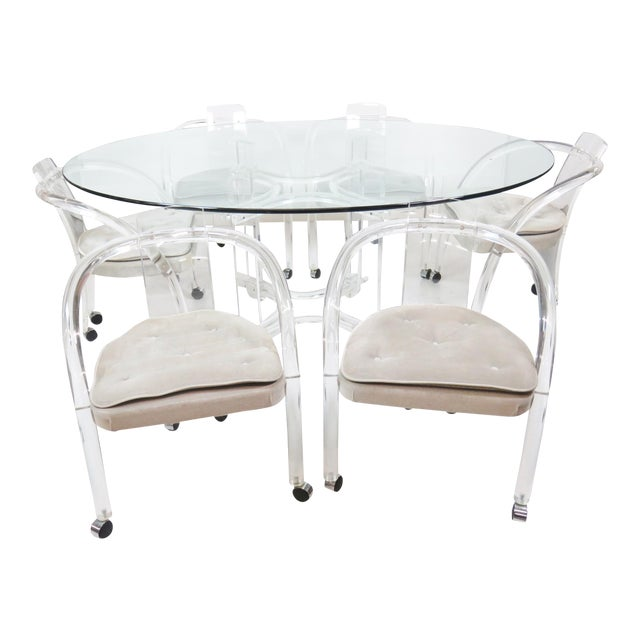 Lucite Glass Dining Table 6 Chairs Chairish