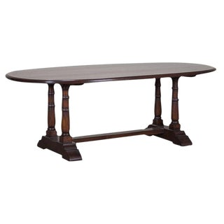 Dining Table Constructed of Hand-Planed Oak with a Border of Yew Wood from Great Britain