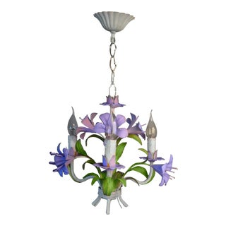 French Tole Heliotrope Lilly Chandelier