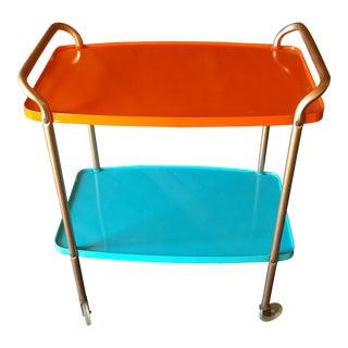 Mid-Century Orange & Aqua Painted Rolling Bar Cart