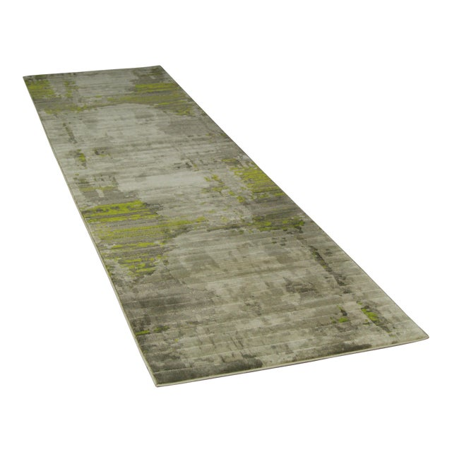 Image of Contemporary Abstract Green Rug - 2'8'' x 10'