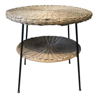 Iron & Rattan 2-Tier Side Table
