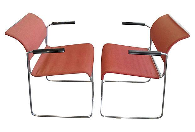 Harter Mid Century Modern Red Chairs   A Pair   Image 3 Of 5