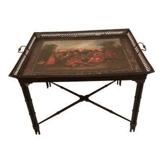 Antique French Tole Tray Table