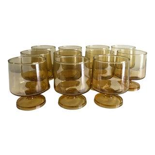 Vintage Amber Brandy Glasses - Set of 11