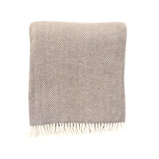 Fringed Taupe Herringbone Throw Blanket