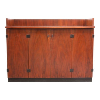 Mid-Century Modern Walnut Bar Cabinet on Casters