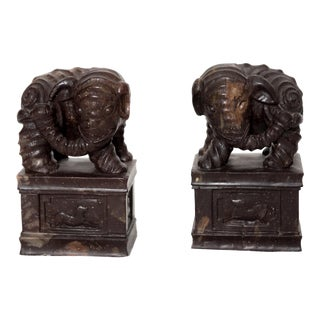 Soapstone Elephants on Plinths - A Pair