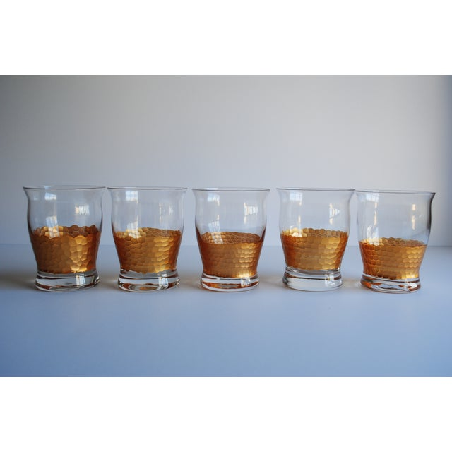 Image of Gold Honeycomb Detail Glasses - Set of 5