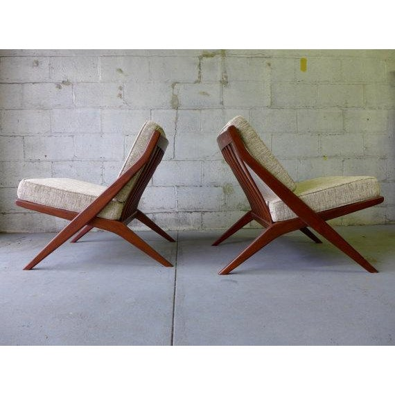 Mid Century Modern Scissor Lounge Chairs - Pair - Image 2 of 6