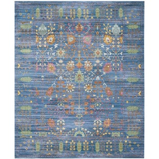 Safavieh Valencia Blue/ Multi Distressed Silky Polyester Rug - 9' x 12'
