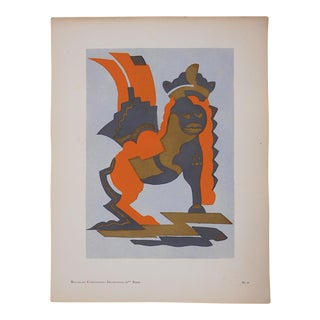 Vintage Serge Gladky Ltd. Ed. Pochoir Print-Abstracted Griffin c.1928