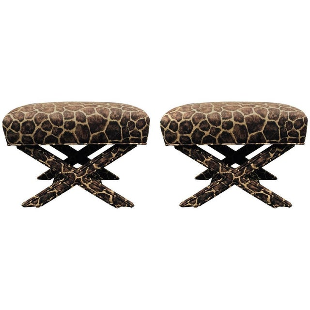 X-Form Faux Giraffe Benches - Pair - Image 1 of 3