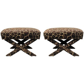 X-Form Faux Giraffe Benches - Pair