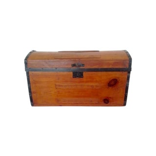 Vintage Dome Top Pine Trunk with Leather Handles