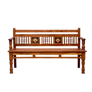 British Colonial Carved Teak Bench