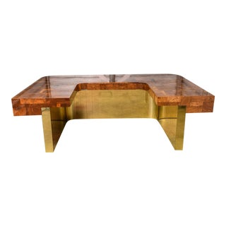Very Rare Brass Bottom Directional Cityscape Desk by Paul Evans