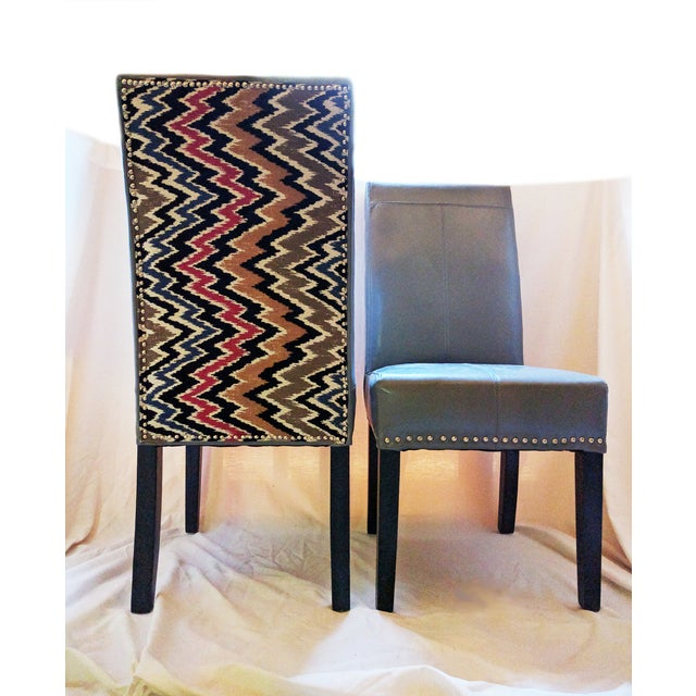 Flamestitch Upholstered Gray Leather Chairs - Pair - Image 2 of 4