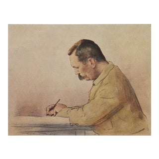 1901 Lithographic Portrait of Arthur Conan Doyle by M.Menpes