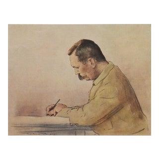 1901 Lithographic Portrait of Arthur Conan Doyle by M.Menpes