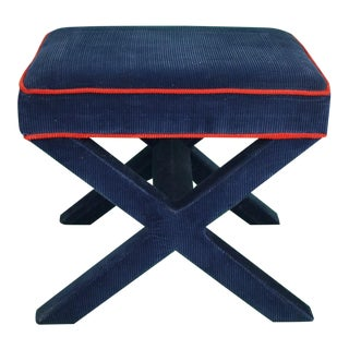 Jonathan Adler Navy Corduroy w Red Piping X'd Legs Ottoman
