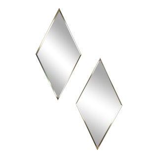 Vintage Diamond Shape Wall Mirrors - A Pair