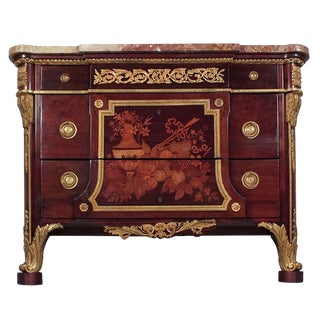 Louis XVI-style Inlaid Marble-Top Commode