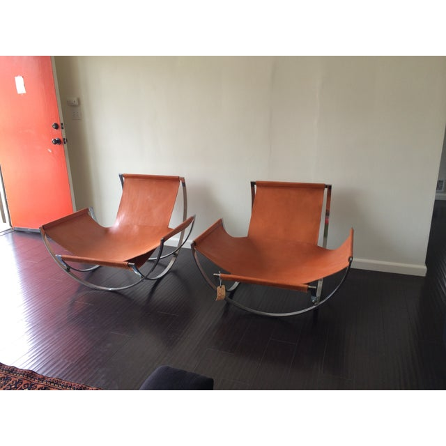 Charles Stendig Leather Lounge Chairs - A Pair - Image 3 of 8