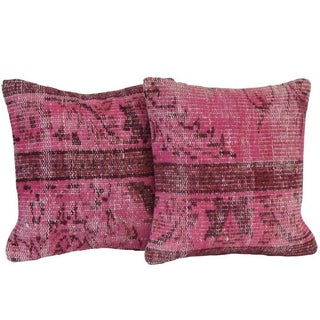 Pink Handmade Over-Dyed Rug Pillows - Pair