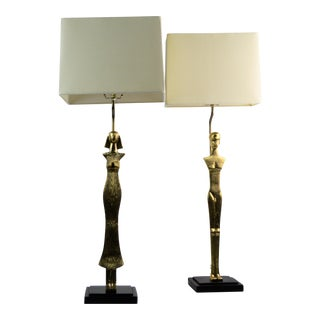 Arteriors Brass Male Female Lamps - a Pair