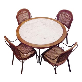 Drexel Marble, Oak and Steel Dining Set - 5