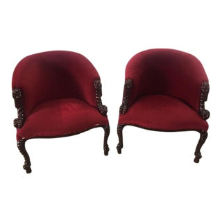 Vintage Rope and Tassel Upholstered Chairs - A Pair