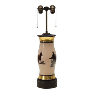 Decoupage Reverse Painted Greek Gods Hurricane Globe Glass Lamp
