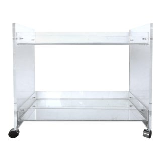Bi-Level Rolling Lucite Bar Cart with Mirrored Serving Surfaces