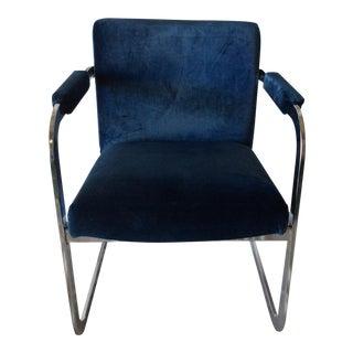 Modern Chrome & Cobalt Velvet Chair